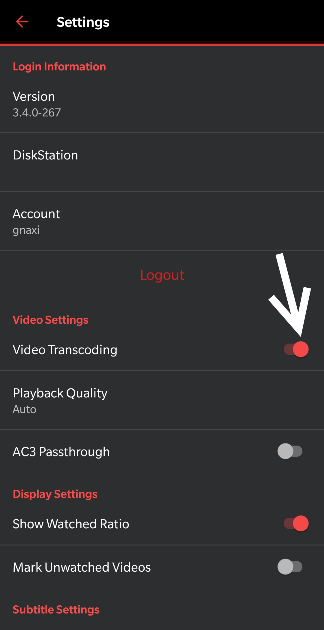 Disable Video Transcoding in your Synology DS video app